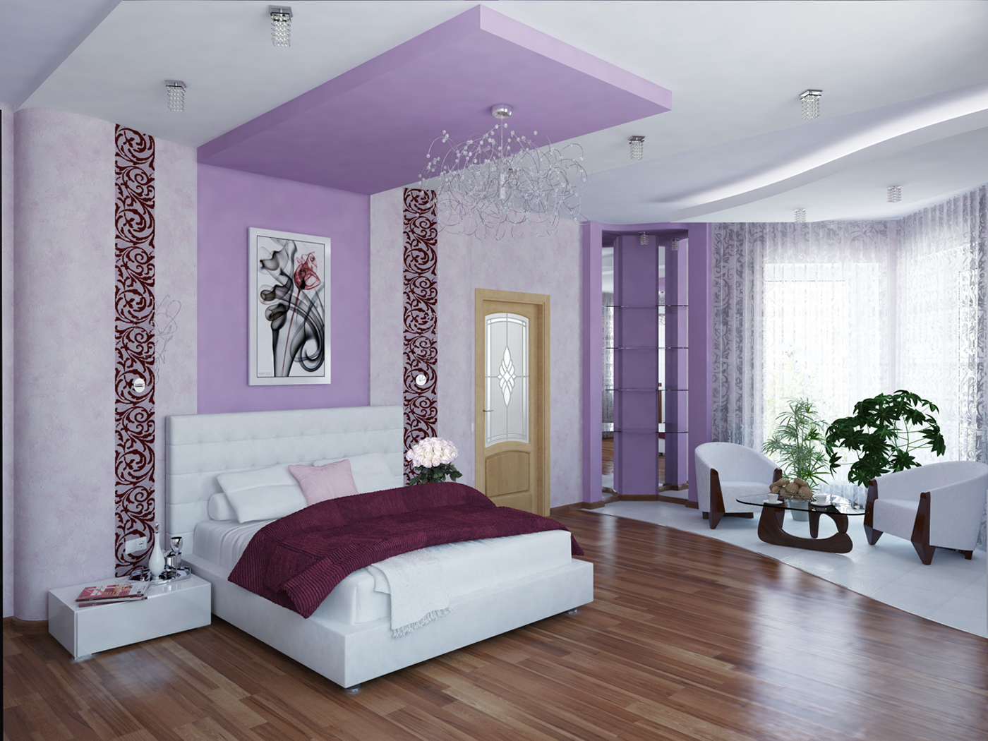 Дизайн спальни в сиреневых фиолетовых тонах фото