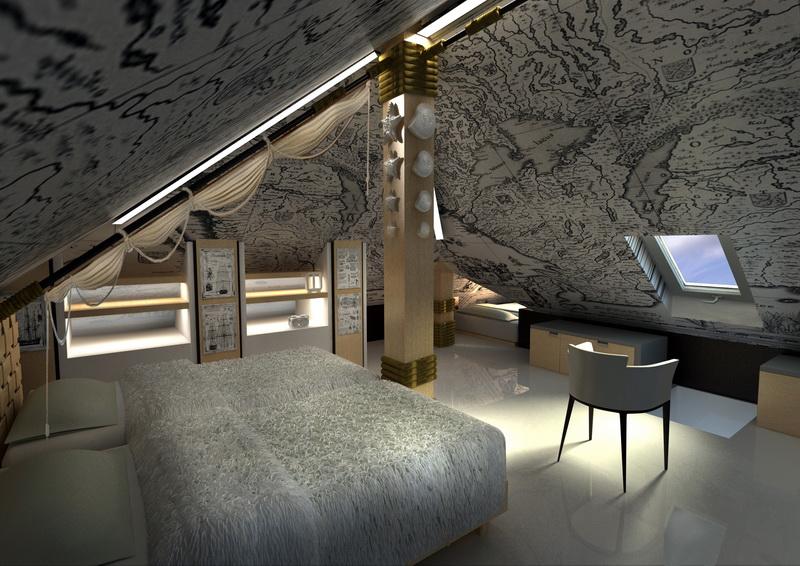 дизайн интерьера мансардного этажа.