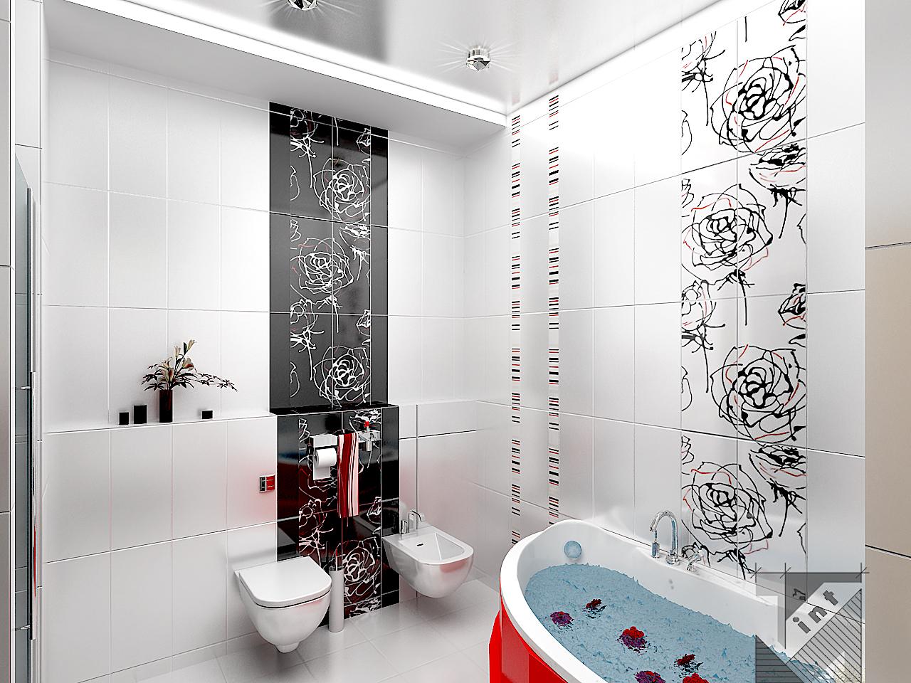 Фото ванной комнаты из плитки с цветами