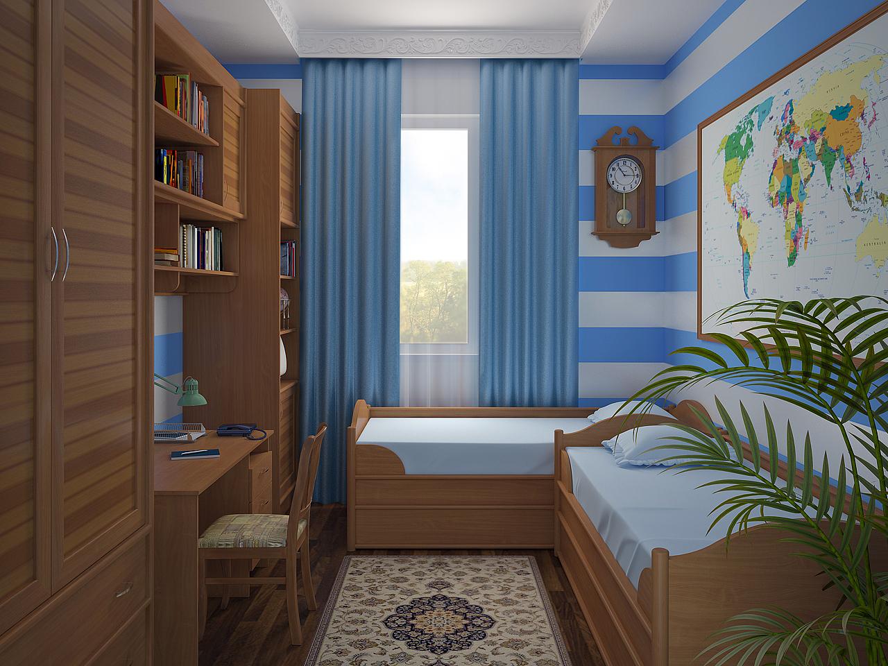 Дизайн комнаты для 2-х подростков