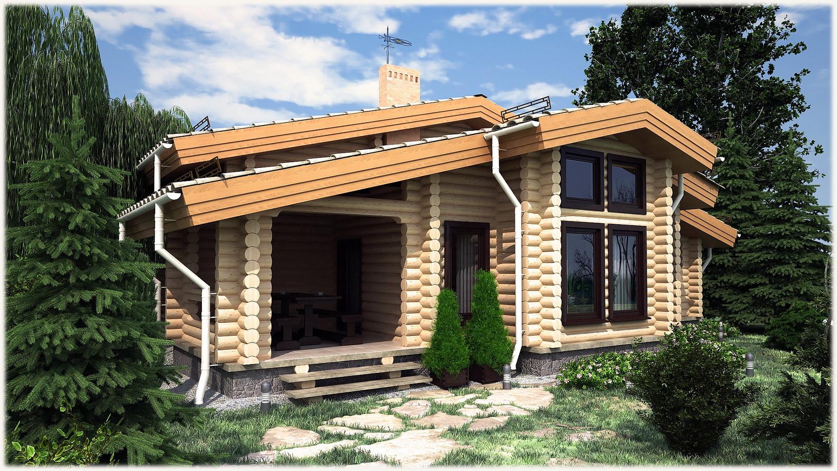 Дизайн одноэтажных деревянных домов 5