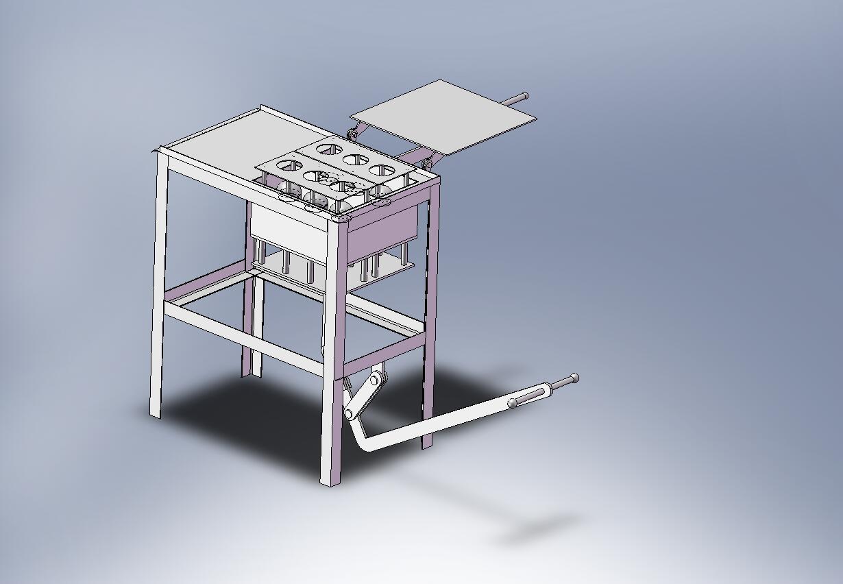 Станок для изготовления шлакоблока (положение для снятия готового изделия) .
