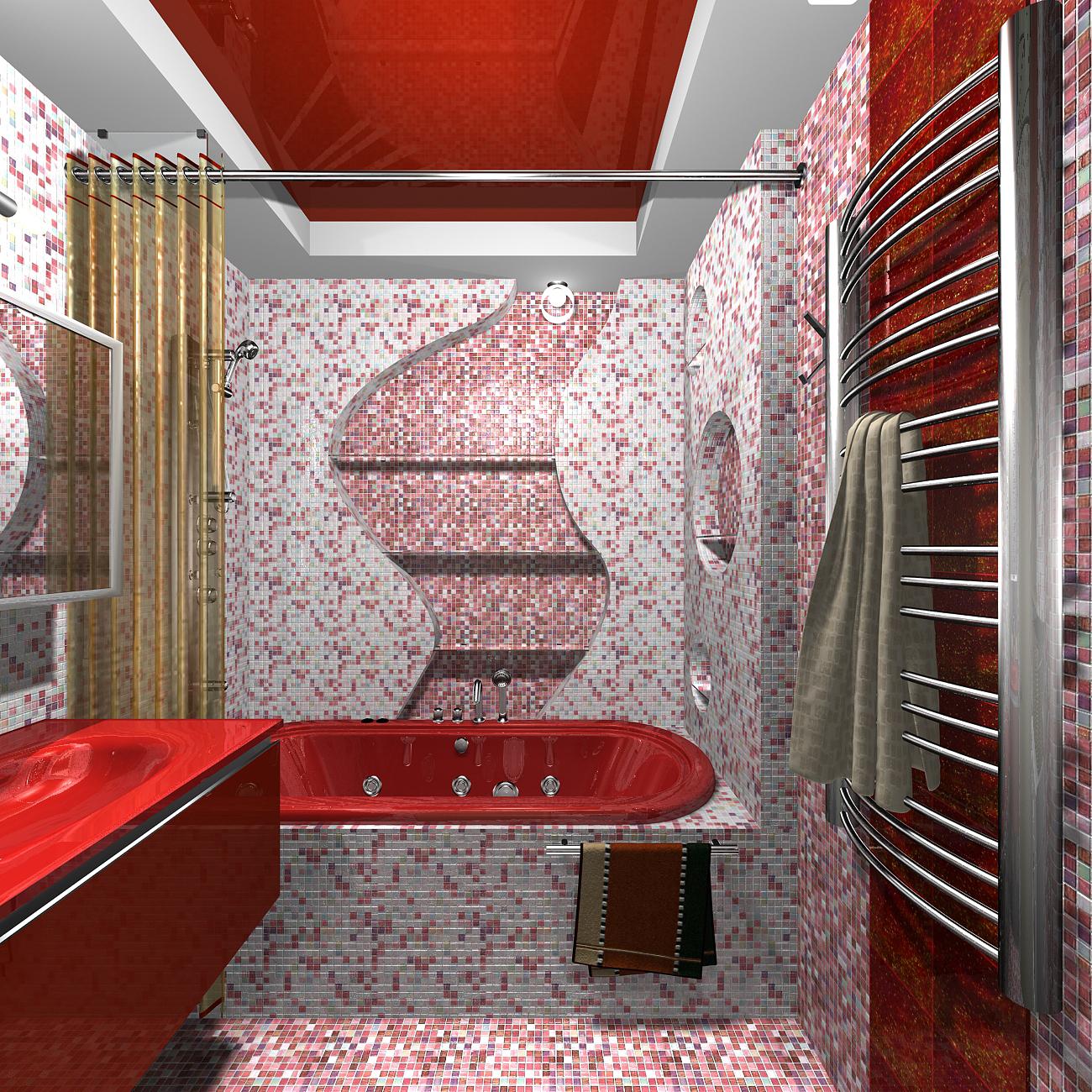 ванная комната дизайн фото черно-красная