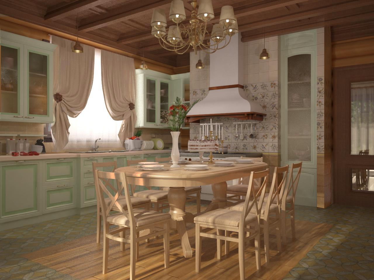 Интересный дизайн кухни столовой в загородном доме