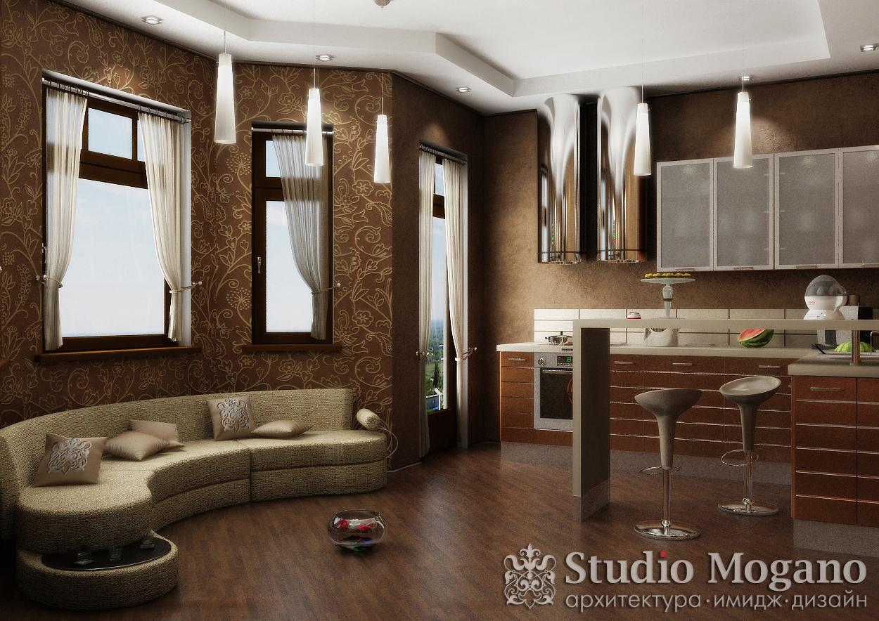 Маленькая гостиная с кухней дизайн фото
