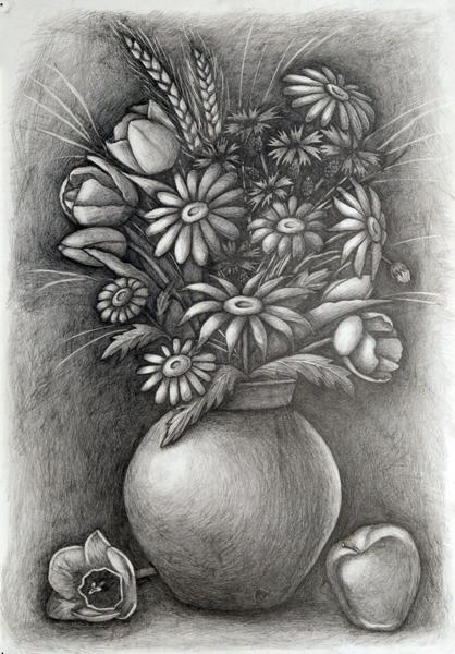 Интуитивный рисунок цветы карандаш