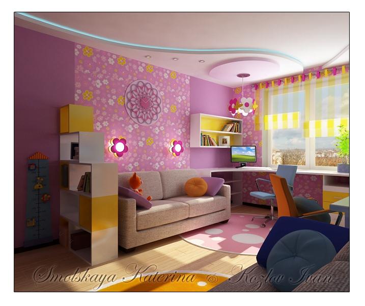 Дизайн детской для девочек 15 кв