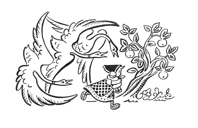 Рисовать сказку гуси лебеди поэтапно