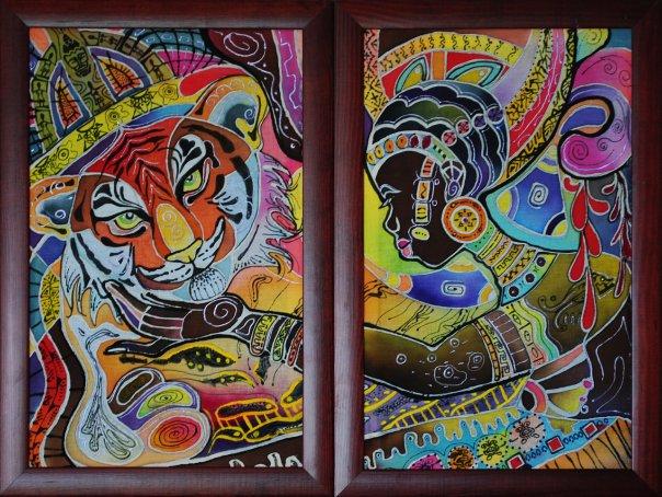 Батик жаркая африка диптих общий