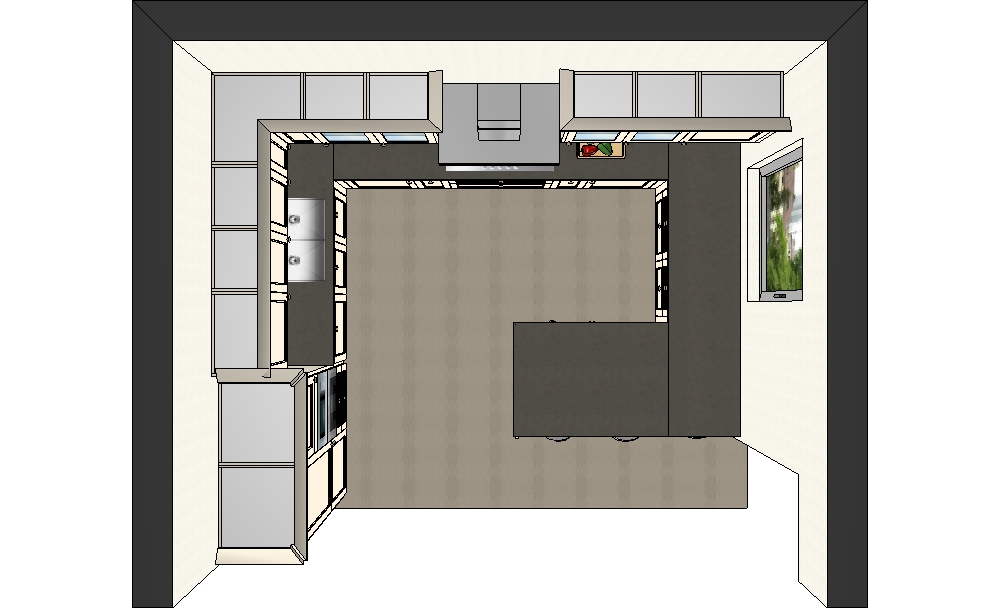 планировка кухни вид сверху