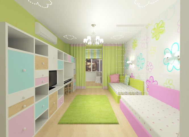 Дизайн детской комнаты 14 кв.м для девочки