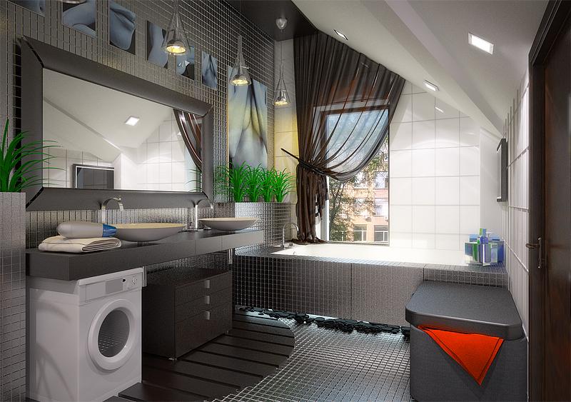 Ванная комната на мансарде дизайн - фото