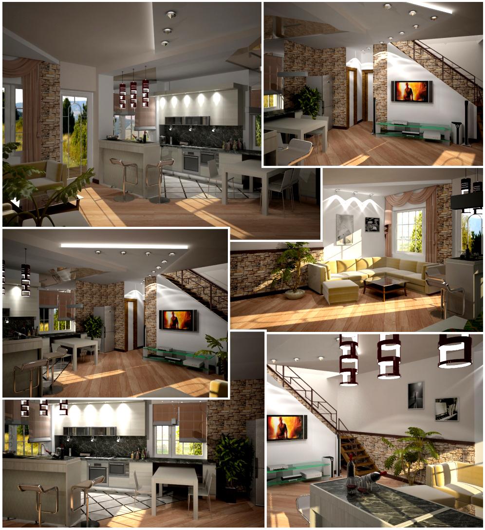 Гостиная кухня студия