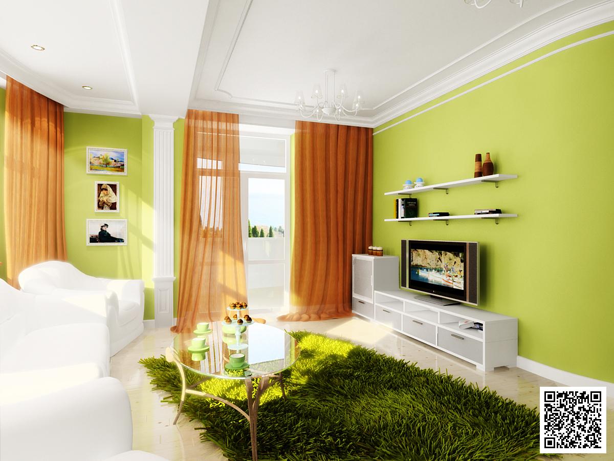 Дизайн зеленые обои