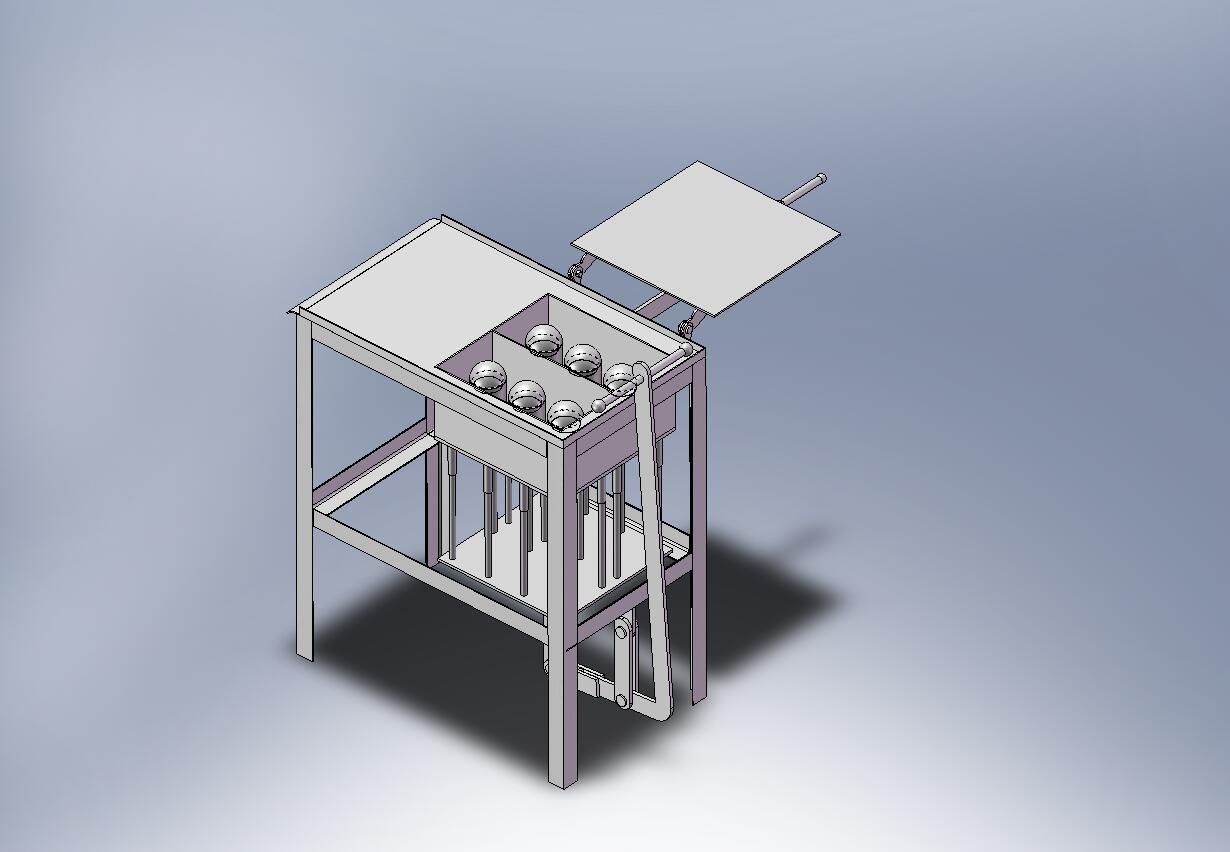 Станок для изготовления шлакоблока (положение для заливки смеси) .